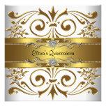 Elegantes Goldweiß Quinceanera Personalisierte Einladungskarte