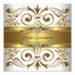 Elegantes Goldweiß Quinceanera Quadratische 13,3 Cm Einladungskarte