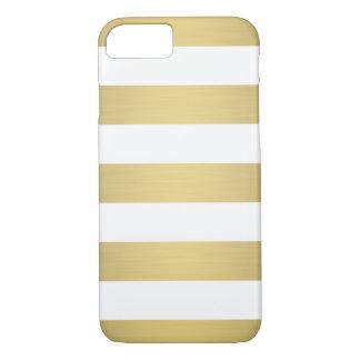 Elegantes Goldweiß Stripes metallischen Luxus iPhone 8/7 Hülle