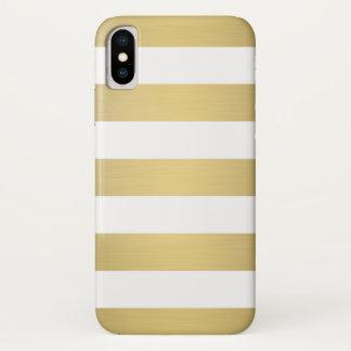 Elegantes Goldweiß Stripes metallischen Luxus iPhone X Hülle