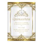 Elegantes Goldweiße Perlen-Prinzessin Quinceanera 11,4 X 15,9 Cm Einladungskarte
