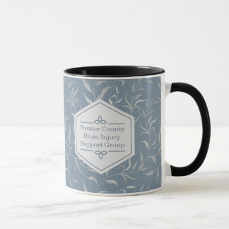 Elegantes Grau-Blätter auf Vintagem Blau Tasse