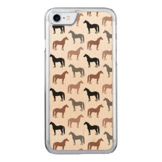 Elegantes graues Muster der Pferdbrown, Schwarzes Carved iPhone 8/7 Hülle