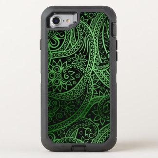 Elegantes grünes Paisley-Muster OtterBox Defender iPhone 8/7 Hülle