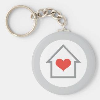 Elegantes Haus mit Herz-Zuhause Schlüsselanhänger