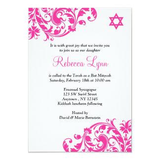 Elegantes heißes Rosa blühen Schläger Mitzvah 12,7 X 17,8 Cm Einladungskarte