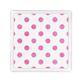 Elegantes heißes Rosa-Glitter-Polka-Punkt-Muster Acryl Tablett