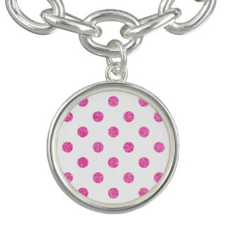 Elegantes heißes Rosa-Glitter-Polka-Punkt-Muster Armbänder