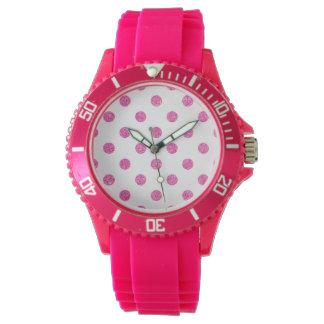 Elegantes heißes Rosa-Glitter-Polka-Punkt-Muster Armbanduhr