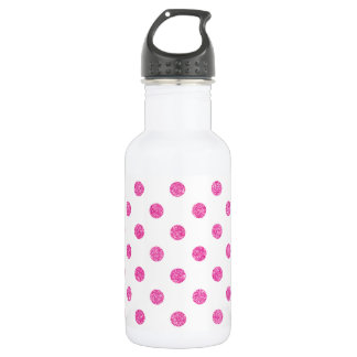 Elegantes heißes Rosa-Glitter-Polka-Punkt-Muster Edelstahlflasche
