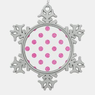 Elegantes heißes Rosa-Glitter-Polka-Punkt-Muster Schneeflocken Zinn-Ornament