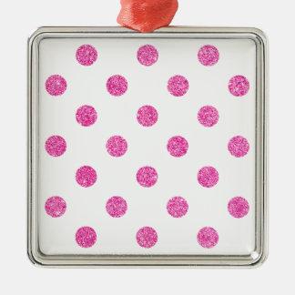 Elegantes heißes Rosa-Glitter-Polka-Punkt-Muster Silbernes Ornament