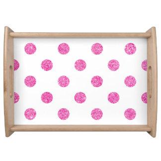 Elegantes heißes Rosa-Glitter-Polka-Punkt-Muster Tablett