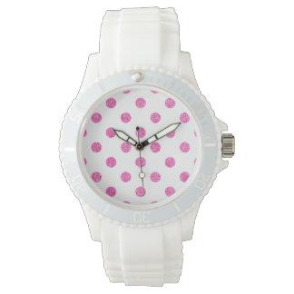 Elegantes heißes Rosa-Glitter-Polka-Punkt-Muster Uhr