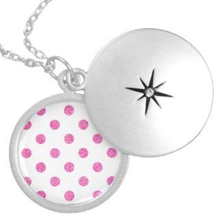 Elegantes heißes Rosa-Glitter-Polka-Punkt-Muster Versilberte Kette