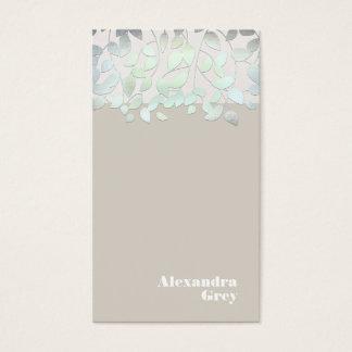Elegantes hellblaues grünes Folien-Blick-Blätter Visitenkarten