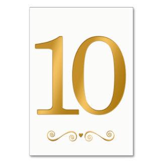 Elegantes helles Gold Imitat-metallische Zahl 10 Karte