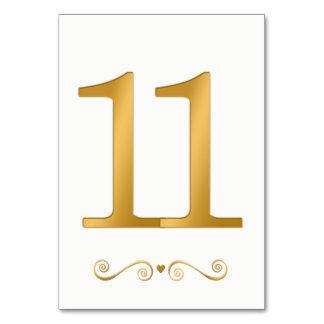 Elegantes helles Gold Imitat-metallische Zahl 11 Karte