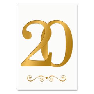 Elegantes helles Gold Imitat-metallische Zahl 20 Karte
