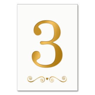 Elegantes helles Gold Imitat-metallische Zahl 3 Karte