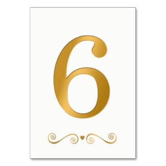 Elegantes helles Gold Imitat-metallische Zahl 6 Karte