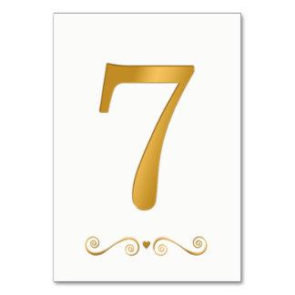 Elegantes helles Gold Imitat-metallische Zahl 7 Karte