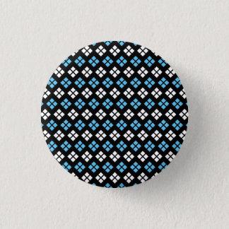 Elegantes Himmel-Blau-u. Weiß-Rauten-Muster auf Runder Button 2,5 Cm