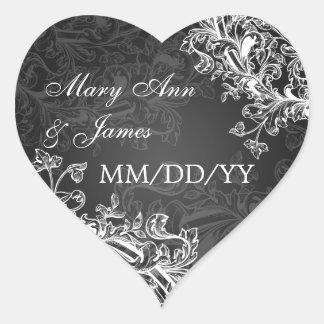 Elegantes Hochzeits-Datums-Vintages Herz Sticker