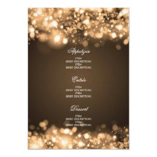 Elegantes Hochzeits-Menü-funkelndes Licht-Gold Personalisierte Ankündigungen