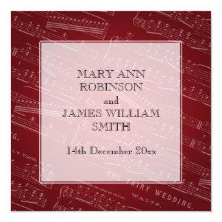 Elegantes Hochzeits-Notenen-Rot Quadratische 13,3 Cm Einladungskarte