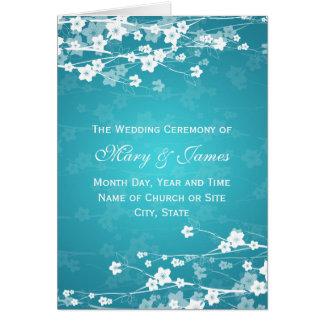 Elegantes Hochzeits-Programm-Kirschblüten-Blau Grußkarte
