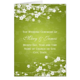 Elegantes Hochzeits-Programm-Kirschblüten-Limones Karte