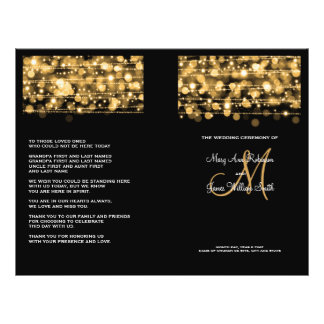 Elegantes Hochzeits-Programm-Party-Glitzern-Gold Flyer