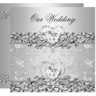 Elegantes Hochzeits-Silber-weißes Diamant-Herz Karte