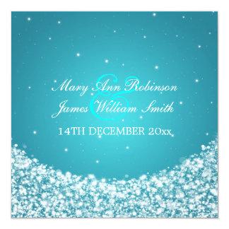Elegantes Hochzeits-Stern-Schein-Blau Quadratische 13,3 Cm Einladungskarte