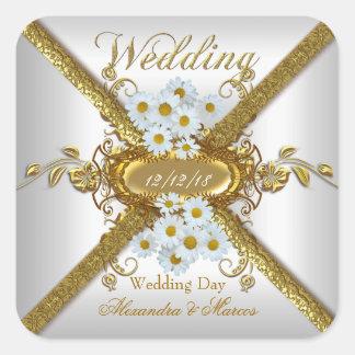 Elegantes Hochzeits-weißes Quadratischer Aufkleber