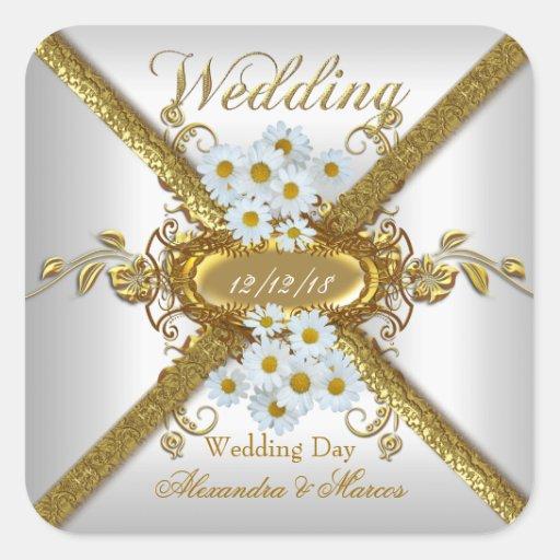 Elegantes Hochzeits-weißes Quadrataufkleber