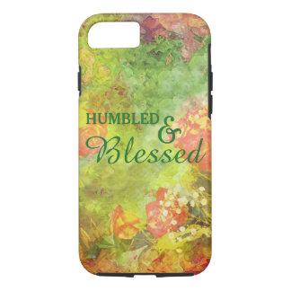 Elegantes Humbled u. gesegnetes BlumenAquarell iPhone 8/7 Hülle