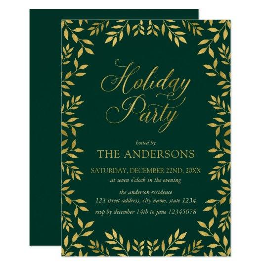 Elegantes Imitat-Gold verlässt Feiertags-Party Karte