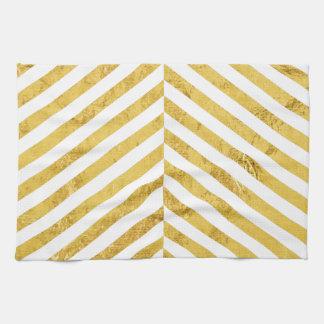 Elegantes Imitat-Goldfolien-weißes Streifen-Muster Handtuch