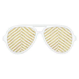 Elegantes Imitat-Goldfolien-weißes Streifen-Muster Sonnenbrille