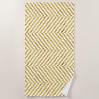 Elegantes Imitat-Goldfolien-weißes Streifen-Muster Strandtuch