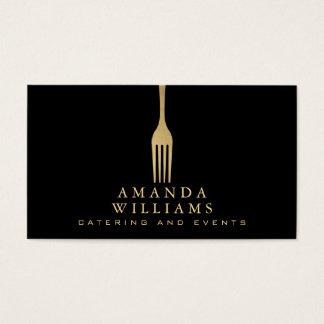 Elegantes Imitat-Goldgabel-Catering-Logo auf Visitenkarte