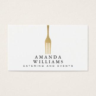 Elegantes Imitat-Goldgabel-Catering-Logo Visitenkarte