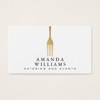 Elegantes Imitat-Goldgabel-Catering-Logo Visitenkarten