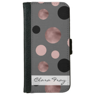 elegantes Imitat-Rosengold erröten rosa schwarze Geldbeutel Hülle Für Das iPhone 6/6s