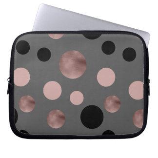 elegantes Imitat-Rosengold erröten rosa schwarze Laptopschutzhülle