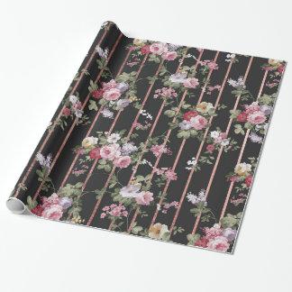 Elegantes Imitat-Rosengold stripes rosa Vintage Geschenkpapier