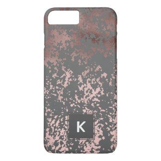 elegantes Imitat-Rosengold und graue Brushstrokes iPhone 8 Plus/7 Plus Hülle