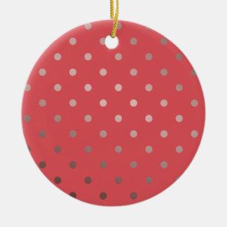 elegantes Imitat-Rosengoldrote Polkapunkte Rundes Keramik Ornament